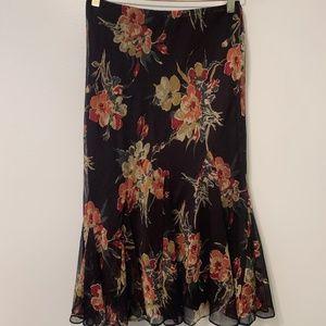 Lauren Ralph- Irina Floral Georgette Godet Skirt